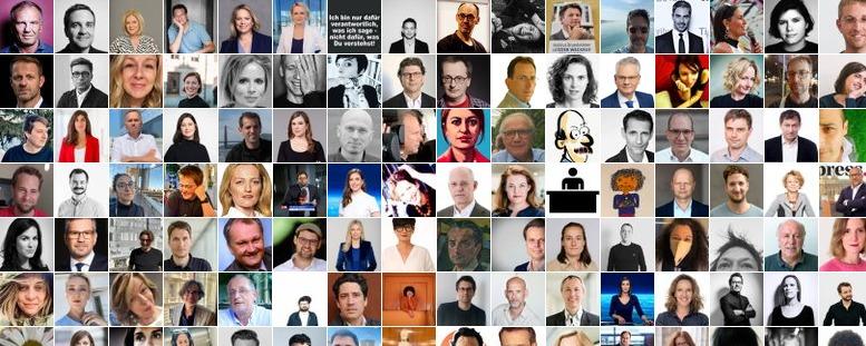 Collage aus den Avatar-Bildern der Mitglieder der Liste Journalistinnen und Journalisten