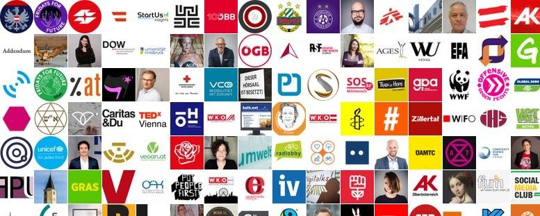 Collage aus den Avatar-Bildern der Mitglieder der Liste Organisationen / Initiativen
